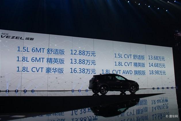 广汽本田缤智上市 售12.88万-18.98万元