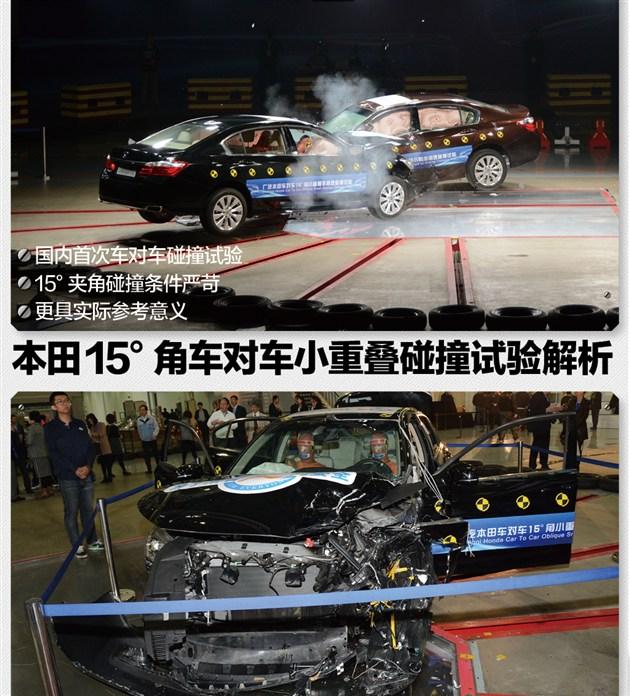 本田15度角车对车小重叠碰撞试验解析