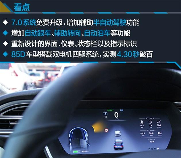 特斯拉MODEL S 85D搭载了一组85kWh的高压电池,官方给出的最大续航里程为502km。不过实际充满电后,续航里程大约在460km多一点。动力部分由两台电机和单速的变速箱组成。车辆搭载了四驱系统,双电机分别置于车头和车尾部分。两台电机的最大功率总和为315kW,最大扭矩达到660Nm;这个数据比起后驱的MODEL S 85车型要高一些,再加上四驱系统的作用。无论动力还是操控表现都更加出色。   传动部分,MODEL S全系都配备了电动车专用的单速变速箱。采用了固定齿比(9.