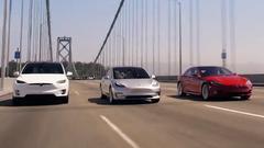 特斯拉家族三车齐聚 Model 3造型抢眼