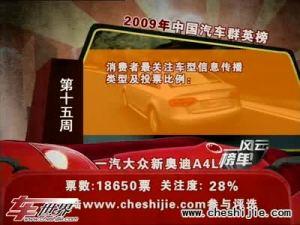09中国汽车风云榜15周奥迪新A4L夺魁
