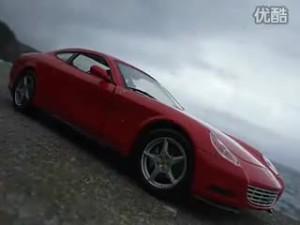 海边掠影红色法拉利612 Scaglietti