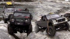 福特皮卡带队 遥控四驱越野车丛林探险
