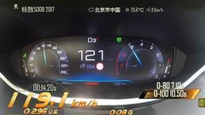 东风标致5008加速测试 仪表盘视角