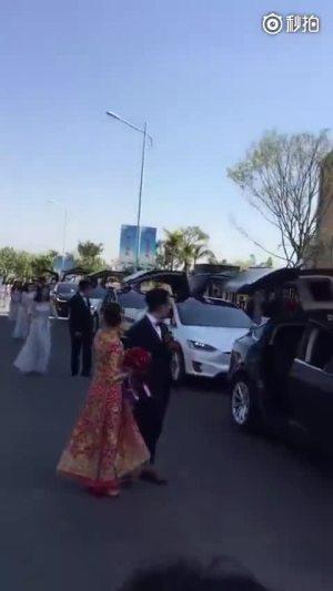 弄一堆特斯拉当婚车还是挺有气势的