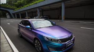 起亚K5贴膜改色紫魅蓝