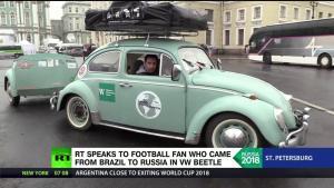 甲壳虫在世界各地:巴西球迷开复古车一路走到俄罗斯