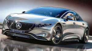 Model S新对手,奔驰EQE纯电轿车渲染图曝光