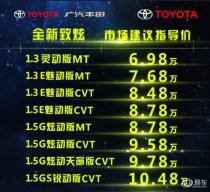 广汽丰田新致炫上市 售6.98万-10.48万元